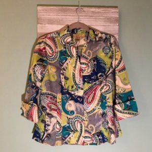 NWT GOLD LABEL Investments Non-Iron Paisley Top